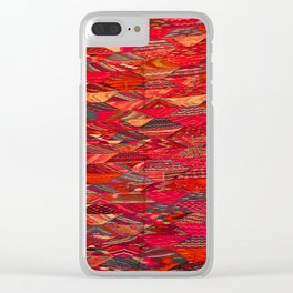 V35 Red Traditional Moroccan Artwork Pattern Clear iPhone Case