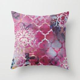 Mixed Media Layered Patterns - Deep Fuchsia Throw Pillow