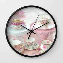 Shabby Chic Teacups Pink White Cottage Kitchen Decor Wall Clock
