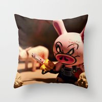bacon Throw Pillows featuring Bacon by m4Calliope