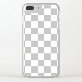 Checkered - White and Silver Gray Clear iPhone Case