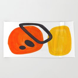 Midcentury Modern Colorful Abstract Pop Art Space Age Fun Bright Orange Yellow Colors Minimalist Beach Towel