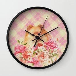 Cute Pomeranian German Spitz wiht Flowers Wall Clock