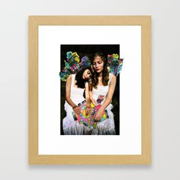 Two young hearts overwhelmed by world issues Framed Art Print