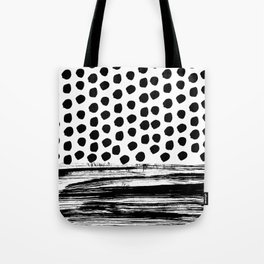 Zoe - Black and white dots, stripes, painted, painterly, hand-drawn, bw, monochrome trendy design Tote Bag