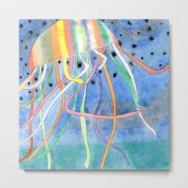Rainbow Colored Jelly Fish Metal Print