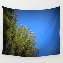 Green Leaves Clear Blue Sky Wall Tapestry