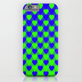 Zigzag of iridescent green hearts staggered on a blue background. iPhone Case