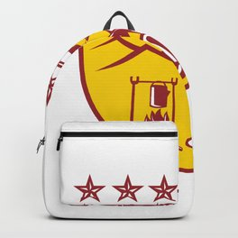 Cowboy Drinking Coffee Campfire Shield Mascot Backpack