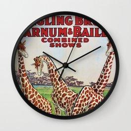 1930's Ringling Brothers & Barnum and Bailey Circus 'Giraffe' Poster Wall Clock