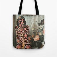 karen hallion Tote Bags featuring Karen by Mariano Peccinetti