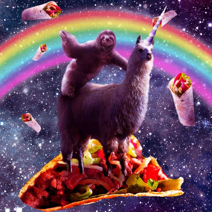 Space Sloth Riding Llama Unicorn - Taco & Burrito Comforters