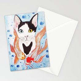 Cat and koi Stationery Cards