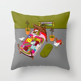 A Farm Girl Sleeps and Her Lady Chickens Play Throw Pillow