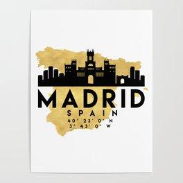 MADRID SPAIN SILHOUETTE SKYLINE MAP ART Poster