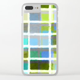 Rectangles in Blues and Greens Clear iPhone Case