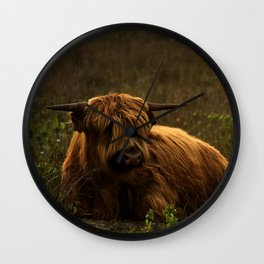 Scottish Highland hairy cow Wall Clock