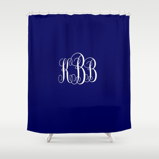 Monogram Kbb In White And Navy Blue Shower Curtain By Lena Photo Art Society6