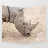 rhino Wall Tapestries featuring rhino by Marcel Derweduwen