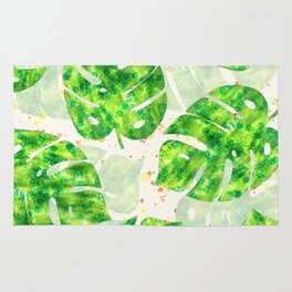 Tropical Monstera Leaves Unique Pattern Rug