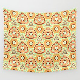 Fiesta of Triangle Pyramid Floral Dots , Turquoise, Orange and Brown Mexican Style Wall Tapestry