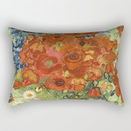 """Vincent van Gogh """"Still Life, Vase with Daisies, and Poppies"""" Rectangular Pillow"""