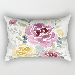 Fall Watercolor Flowers Rectangular Pillow