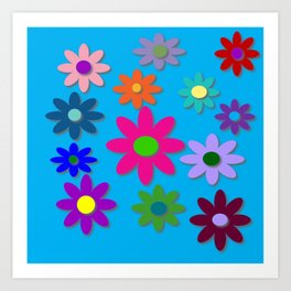 Flower Power - Blue Background - Fun Flowers - 60's Hippie Style Art Print