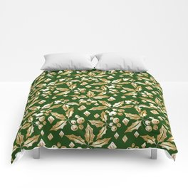 Christmas pattern.Gold sprigs on a dark green background. Comforters