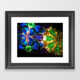 Kaleido: Blue, Green, Yellow Framed Art Print