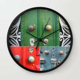 Colorful Door Collage Wall Clock