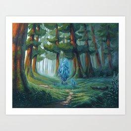 Forest magic crystal landscape Art Print