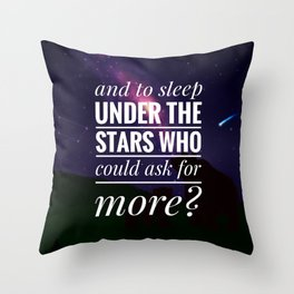Under the Stars (with text) Throw Pillow