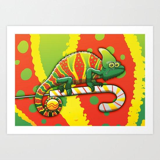 Christmas Chameleon Art Print