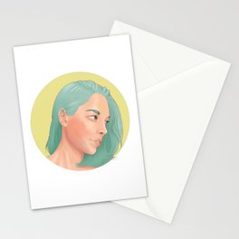 Green Haired Lady Stationery Cards
