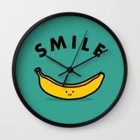 banana Wall Clocks featuring Banana by Jaco Haasbroek