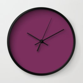 Dark Violet - Jam - Mulberry - Boysenberry Solid Color Parable to Pantone Glistening Grape 20-0113 Wall Clock