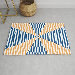 Crossing the lines - the blue and yellow  optical illusion Rug