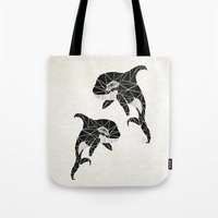 orca Tote Bags featuring orca by Manoou