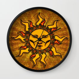 Bright Sun #2 Psychedelic Character Icon Tapestry Wall Clock