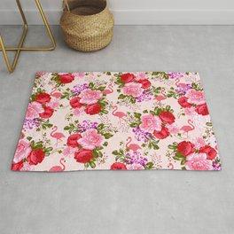 Vintage pink elegant roses floral watercolor tropical flamingo Rug