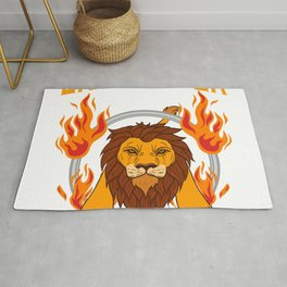 "Fiery Retro Animal Design A Nice Illustration Of A Lion King ""Lion Tamer"" T-shirt Jungle Animal Rug"
