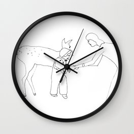 yellow bambi came to me when I was taking my first steps Wall Clock
