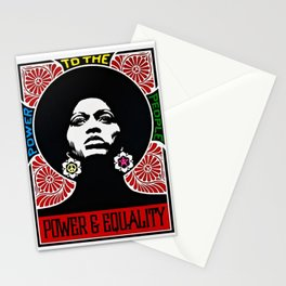 Rainbow Motif - Angela Davis - Power & Equality - Power to the People Vintage Poster Stationery Cards
