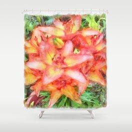Helen's Lilies Watercolor Shower Curtain