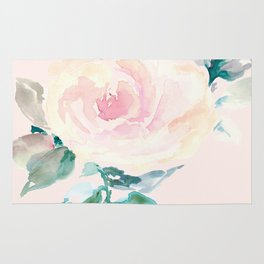Watercolor Rose on Blush Background Rug