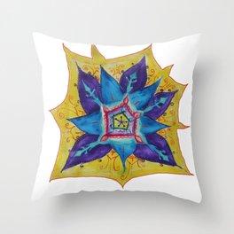 Star Mandala Hand Painet Energy Throw Pillow