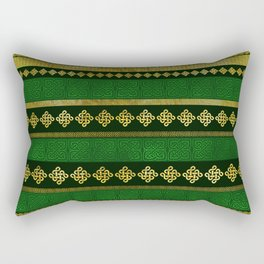 Celtic Knot Decorative Gold and Green pattern Rectangular Pillow