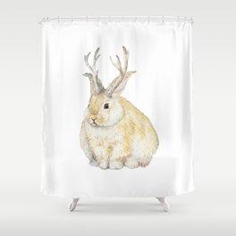 Watercolor Grumpy Jackalope Antler Bunny Shower Curtain