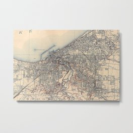 Vintage Map of Cleveland (1904)  Metal Print